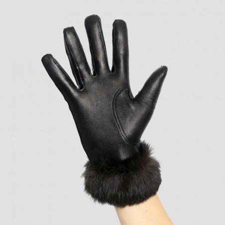 Gant cuir dame fourré lapin noir - Le Magnifique
