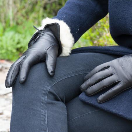 Gant cuir dame - Le Lapin Chic noir - doublure beige
