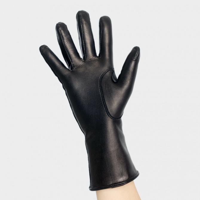 Gant cuir dame - Le Lapin Chic noir - doublure brun