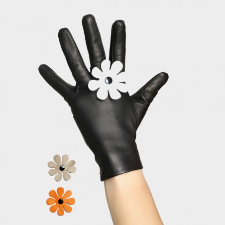 Gants cuir dame avec fleur amovible - Le fantaisiste
