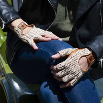Mitaine de conduite crochet et cuir dame - L'Intemporelle