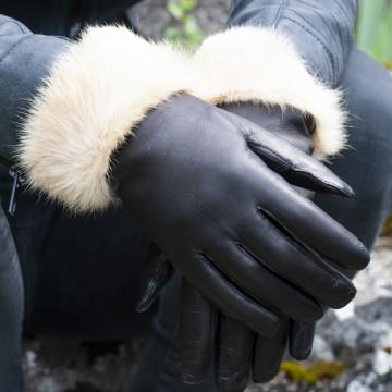 Gant cuir dame fourré lapin beige - Le Magnifique Personnalisable