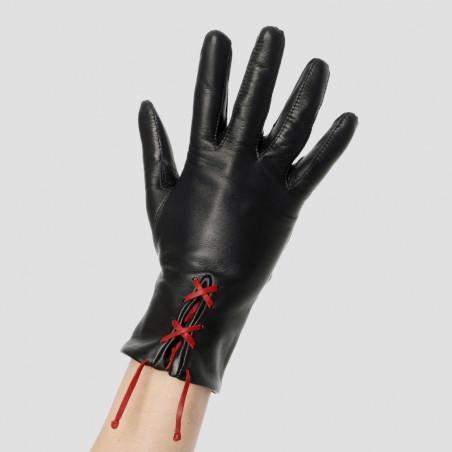 Gant cuir personnalisable avec lacet rouge - Le séducteur dame