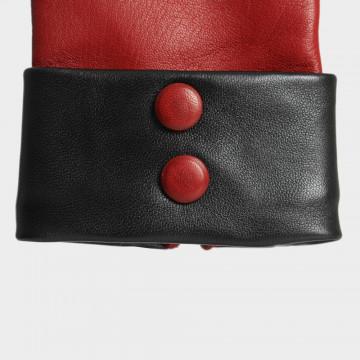 Gant fantaisie dame en cuir noir et rouge - Le Rétro