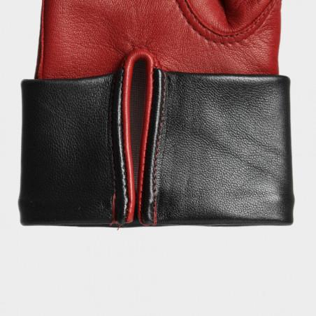 Le Rétro - Gant dame en cuir noir et rouge
