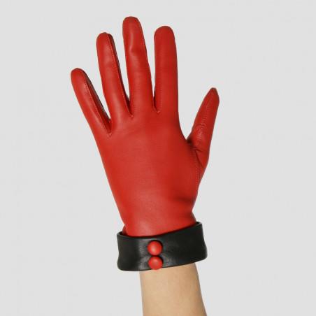 Le Rétro - Gant fantaisie dame en cuir rouge & noir