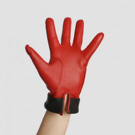Gant dame en cuir rouge & noir - Le Rétro