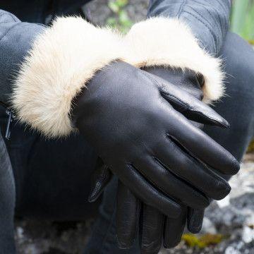 Gant cuir dame fourré lapin beige - Le Magnifique